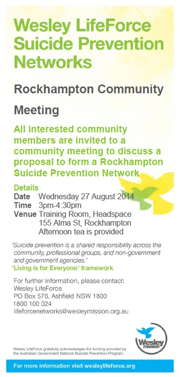 140827 Rockhampton Community Proposal Meeting Flyer