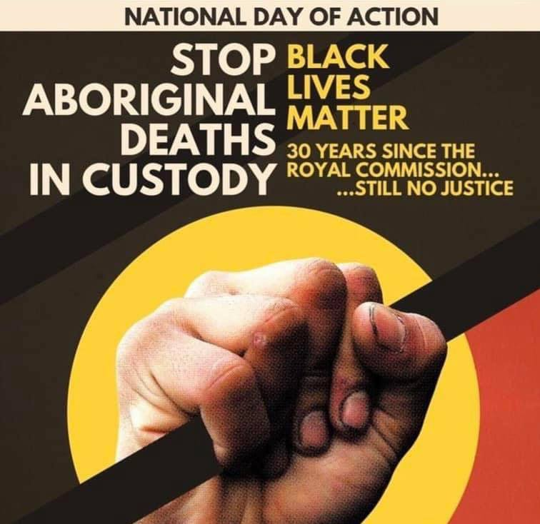 National Day of Action, flag held in hand - Aboriginal Deaths in Custody